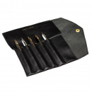 Fiffi Leather Pen Roll Black